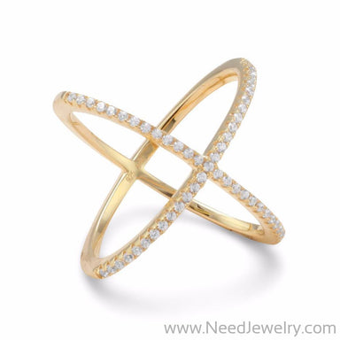 18 Karat Gold Plated Criss Cross 'X' Ring with Signity CZs-Rings-Needjewelry.com