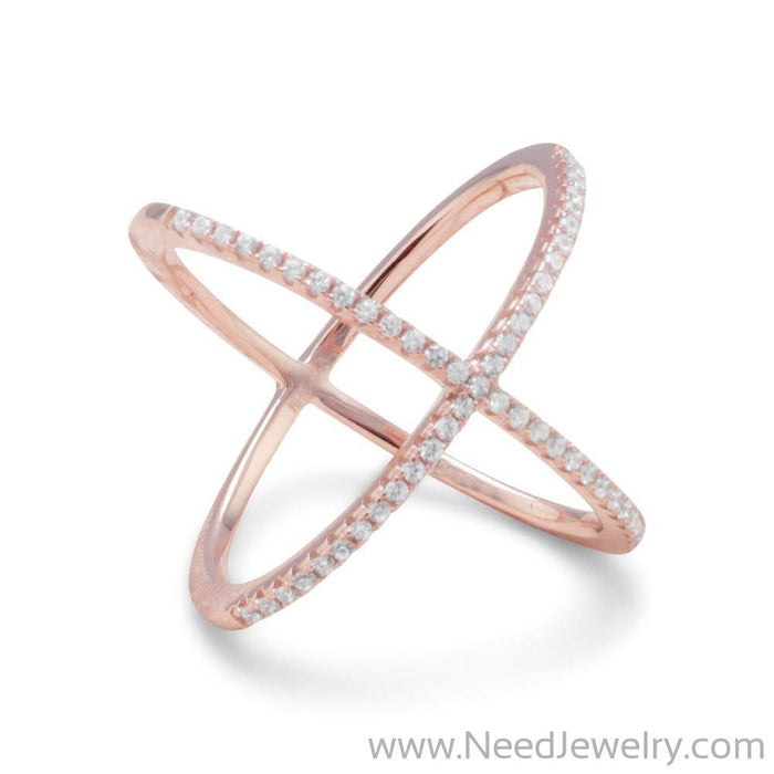 18 Karat Rose Gold Plated Criss Cross 'X' Ring with Signity CZs-Rings-Needjewelry.com