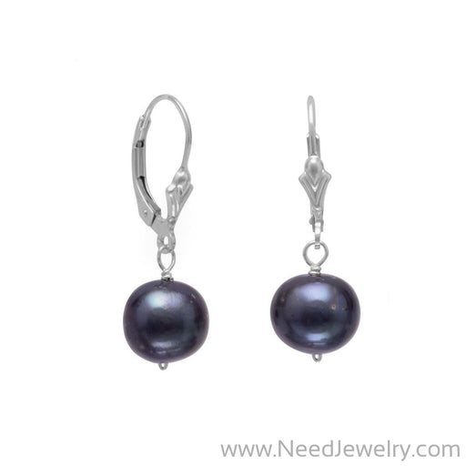 9mm Peacock Cultured Freshwater Pearl Earrings-Earrings-Needjewelry.com