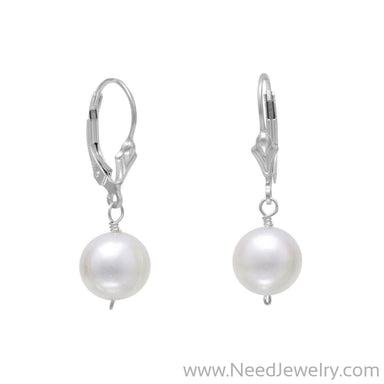 White Cultured Freshwater Pearl Lever Back Earrings-Earrings-Needjewelry.com