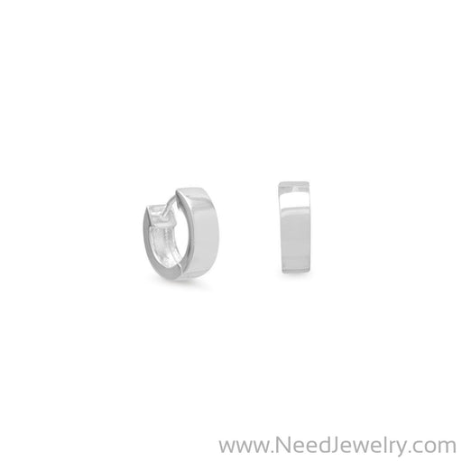 Small Square Polished Hug Hoop Earrings-Earrings-Needjewelry.com