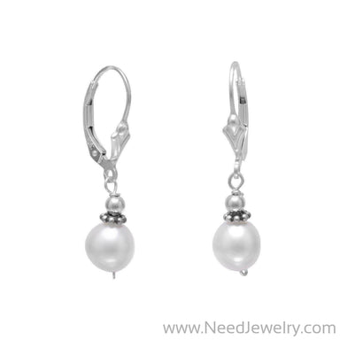 White Cultured Freshwater Pearl with Bali Bead Lever Earrings-Earrings-Needjewelry.com