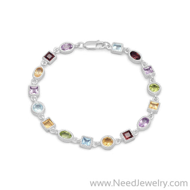 "7"" Single Link Multistone Bracelet-Bracelets-Needjewelry.com"