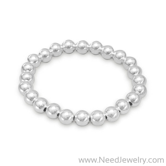 "7"" 8mm Sterling Silver Bead Stretch Bracelet"