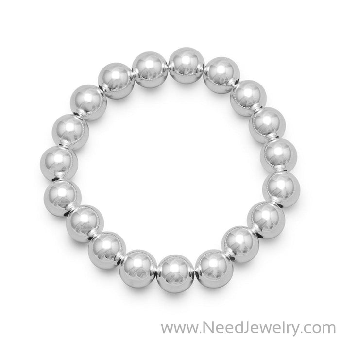 "22063-7"" 10mm Sterling Silver Bead Stretch Bracelet-Bracelets-Needjewelry.com"