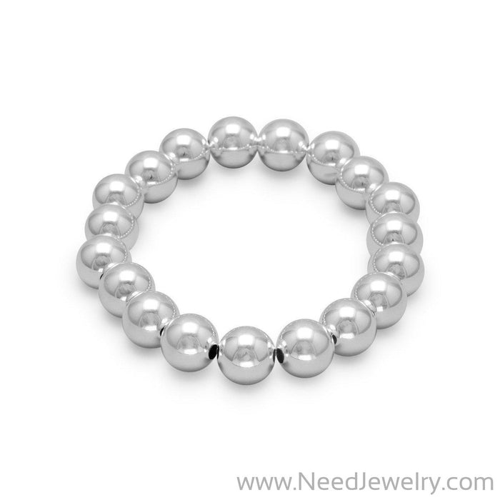 "7"" 10mm Sterling Silver Bead Stretch Bracelet"