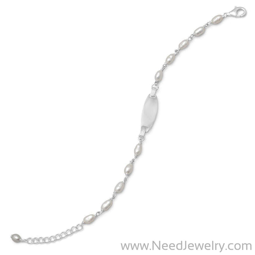 "5"" + 1"" Extension Cultured Freshwater Pearl ID Bracelet-Bracelets-Needjewelry.com"