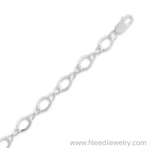"7"" Polished Figure 8 Charm Bracelet-Bracelets-Needjewelry.com"