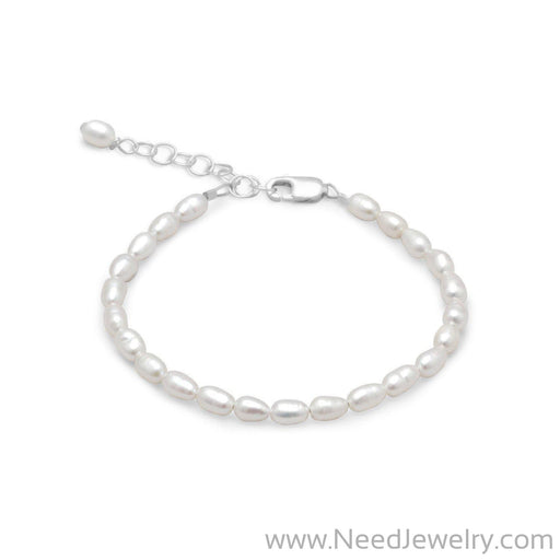 "5"" + 1"" Extension White Rice Cultured Freshwater Pearl Bracelet-Bracelets-Needjewelry.com"
