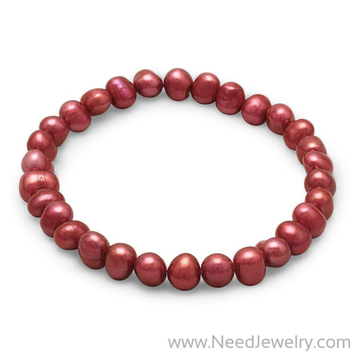 Red Cultured Freshwater Pearl Stretch Bracelet-Bracelets-Needjewelry.com