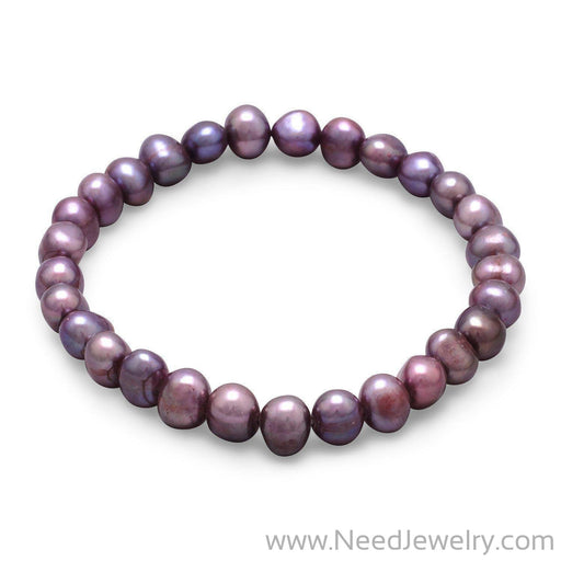Plum Cultured Freshwater Pearl Stretch Bracelet-Bracelets-Needjewelry.com