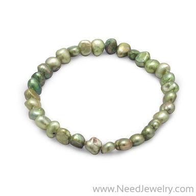 Green Cultured Freshwater Pearl Stretch Bracelet-Bracelets-Needjewelry.com