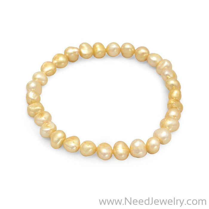 Yellow Cultured Freshwater Pearl Stretch Bracelet-Bracelets-Needjewelry.com