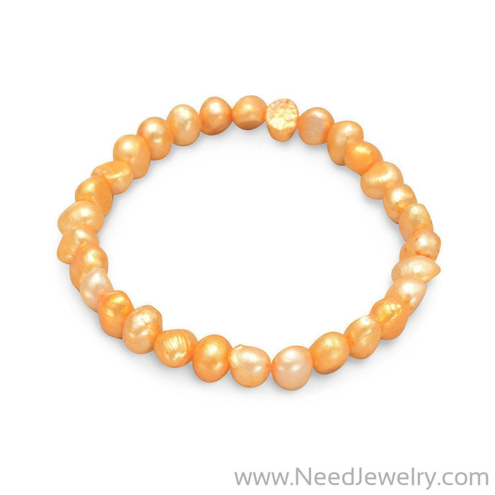 Orange Cultured Freshwater Pearl Stretch Bracelet-Bracelets-Needjewelry.com