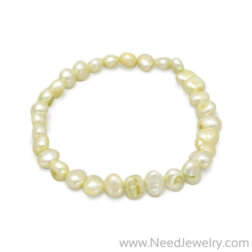Lime Green Cultured Freshwater Pearl Stretch Bracelet-Bracelets-Needjewelry.com