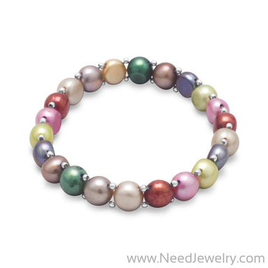 Multi-Color Cultured Freshwater Pearl and Sterling Silver Bead Stretch Bracelet-Bracelets-Needjewelry.com