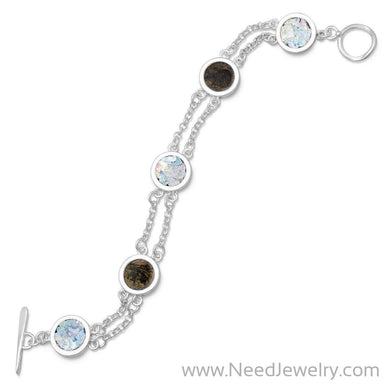 "7.75"" 2 Strand Toggle Bracelet with Ancient Roman Glass & Antique Roman Coins-Bracelets-Needjewelry.com"