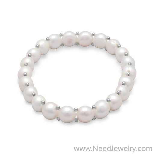 Cultured Freshwater Button Pearl Stretch Bracelet-Bracelets-Needjewelry.com