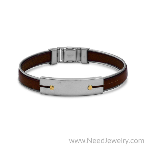 "8.5"" Stainless Steel and Leather Men's Bracelet with 18 Karat Gold Accents-Bracelets-Needjewelry.com"