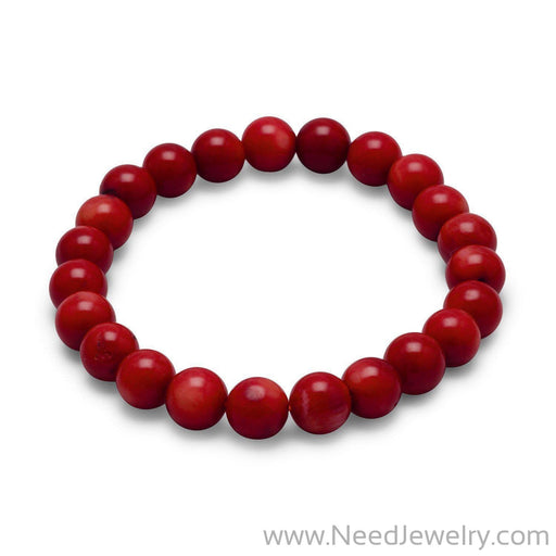 Red Coral Bead Stretch Bracelet-Bracelets-Needjewelry.com