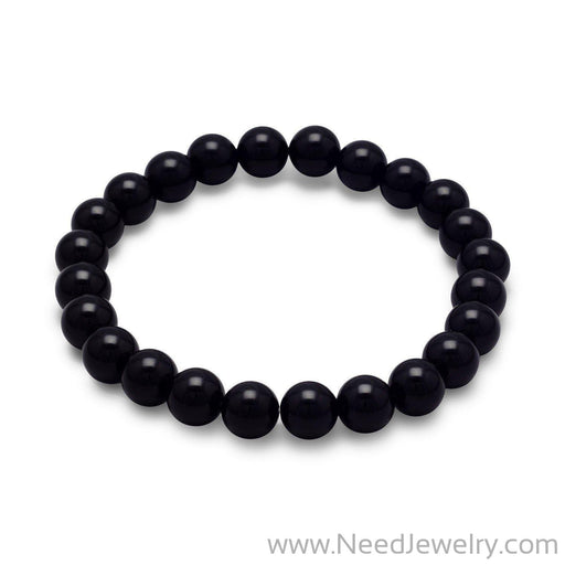 Black Onyx Bead Stretch Bracelet-Bracelets-Needjewelry.com