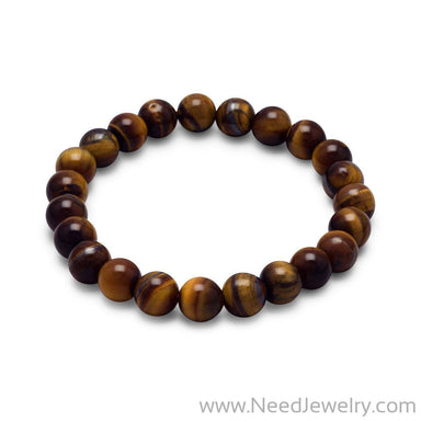 Tiger's Eye Bead Stretch Bracelet-Bracelets-Needjewelry.com