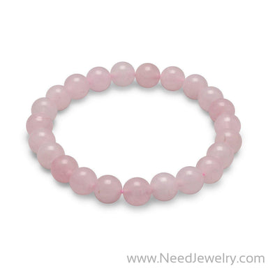 Rose Quartz Bead Stretch Bracelet-Bracelets-Needjewelry.com
