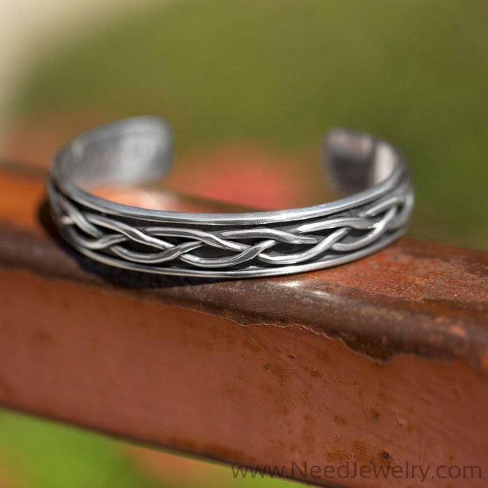 Oxidized Braided Men's Cuff Bracelet-Bracelets-Needjewelry.com