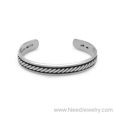 Oxidized Men's Cuff Bracelet with Rope Design-Bracelets-Needjewelry.com