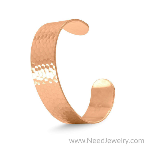 19mm Hammered Solid Copper Cuff Bracelet-Bracelets-Needjewelry.com