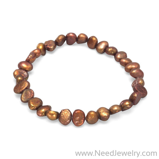Brown Cultured Freshwater Pearl Stretch Bracelet-Bracelets-Needjewelry.com