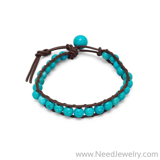 "7""+1"" Leather and Magnesite Bracelet-Bracelets-Needjewelry.com"