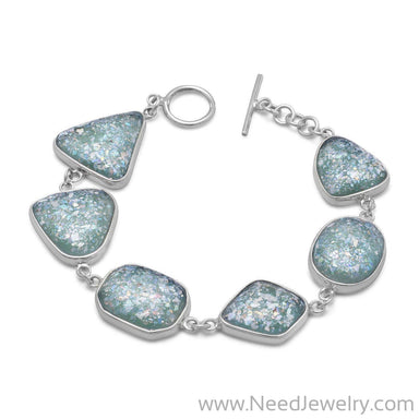 "7"" Roman Glass Toggle Bracelet-Bracelets-Needjewelry.com"
