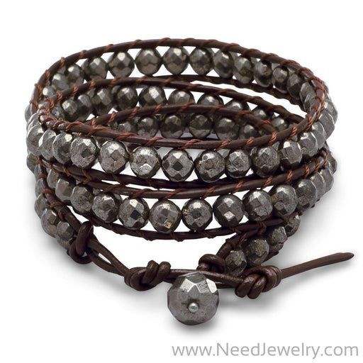 "21"" + 1"" Leather and Pyrite Wrap Fashion Bracelet-Bracelets-Needjewelry.com"