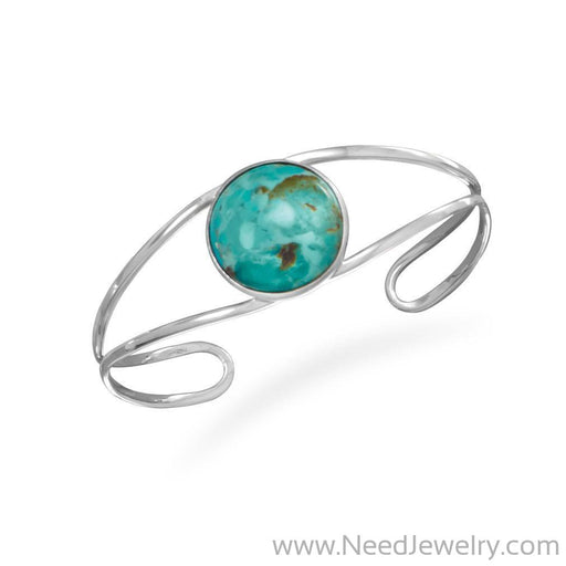 Open Band Cuff with Turquoise-Bracelets-Needjewelry.com
