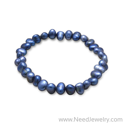 Dark Blue Cultured Freshwater Pearl Stretch Bracelet-Bracelets-Needjewelry.com