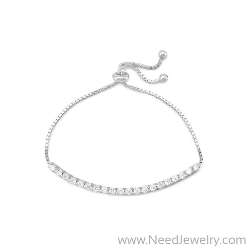 Rhodium Plated CZ Friendship Bolo Bracelet-Bracelets-Needjewelry.com