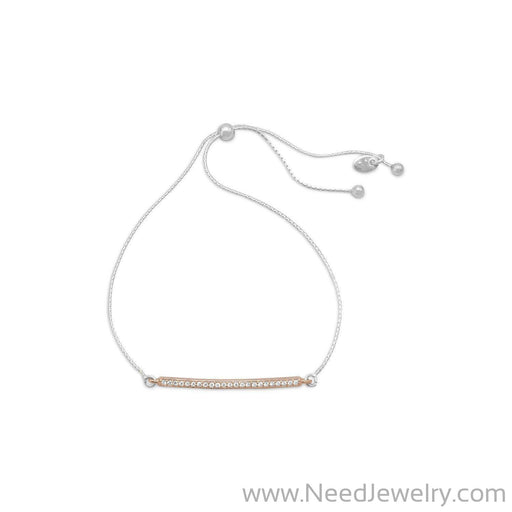 Two Tone CZ Bar Friendship Bolo Bracelet-Bracelets-Needjewelry.com
