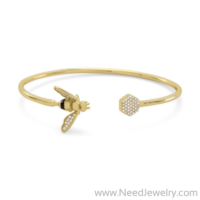 14 Karat Gold Plated and Signity CZ Bee Flex Cuff-Bracelets-Needjewelry.com