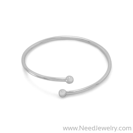 Flex Bangle with Silver Bead Ends-Story beads-Needjewelry.com