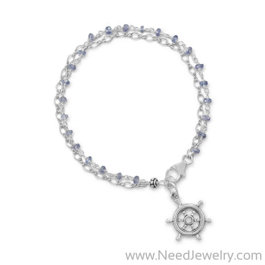 Double Strand Bracelet with Tanzanite and Ships Helm Charm-Bracelets-Needjewelry.com