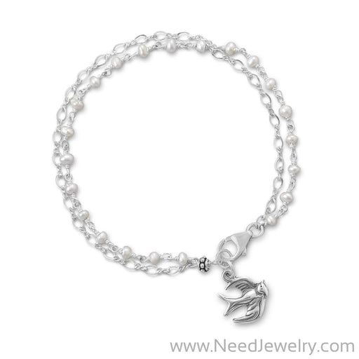 Double Strand Bracelet with Cultured Freshwater Pearls and Bird Charm-Bracelets-Needjewelry.com