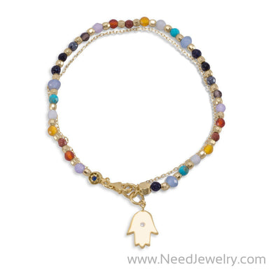Double Strand 14 Karat Gold Plated Multistone Bracelet with Hamsa Charm-Bracelets-Needjewelry.com