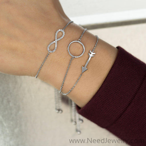 Rhodium Plated CZ Circle Friendship Bolo Bracelet-Bracelets-Needjewelry.com