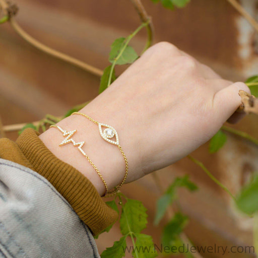 14 Karat Gold Plated CZ Evil Eye Friendship Bolo Bracelet-Bracelets-Needjewelry.com