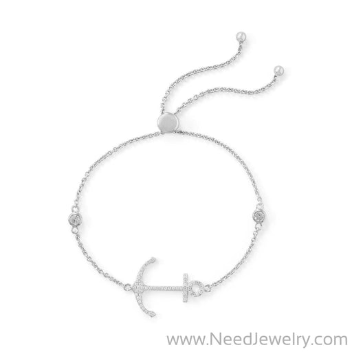 Rhodium Plated CZ Anchor Friendship Bolo Bracelet-Bracelets-Needjewelry.com