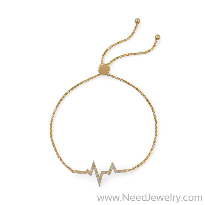14 Karat Gold Plated CZ Heartbeat Friendship Bolo Bracelet-Bracelets-Needjewelry.com