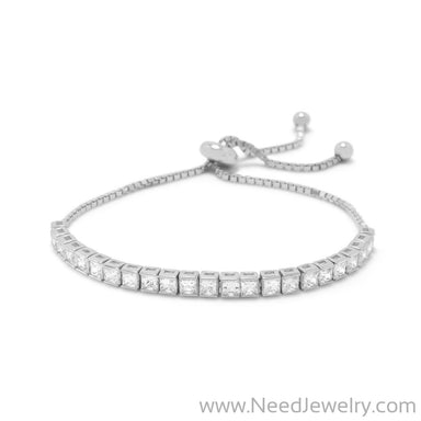 Rhodium Plated Square CZ Friendship Bolo Bracelet-Bracelets-Needjewelry.com