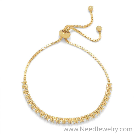 Adjustable 14 Karat Gold Plated CZ Friendship Bolo Bracelet-Bracelets-Needjewelry.com