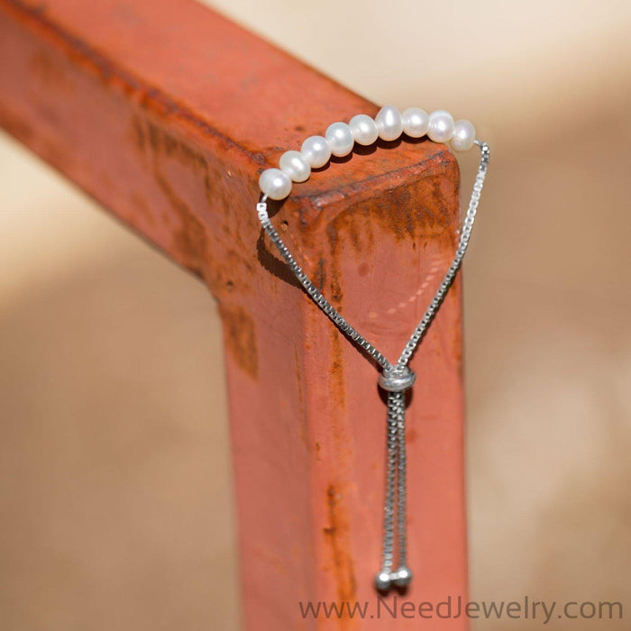 Rhodium Plated Cultured Freshwater Pearl Bolo Bracelet-Bracelets-Needjewelry.com
